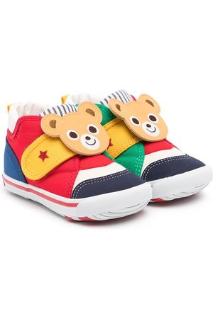 Miki House Touch-strap teddy sneakers
