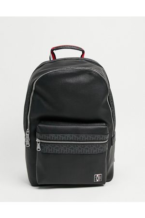 Tommy Hilfiger Leather faux leather monogram backpack with logo in