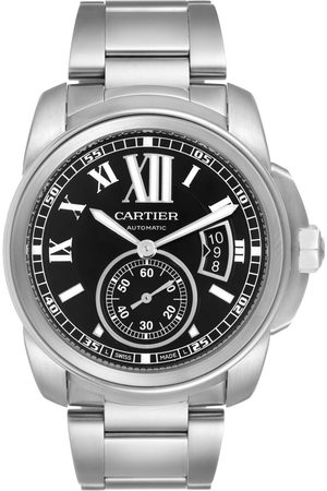 Cartier Calibre De Stainless Steel Black Dial Mens Watch W7100016 Box Papers