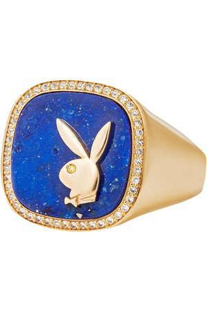Hatton Labs X Playboy Membership Ring, Yellow Gold And Lapis