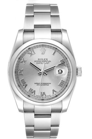 Rolex Datejust Silver Dial Steel Mens Watch 116200 Box Papers