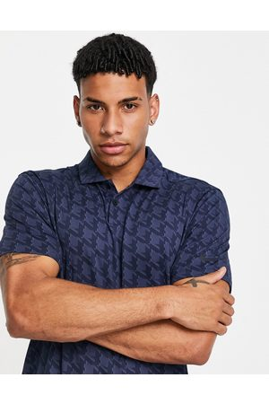 Nike Vapour houndstooth jacquard polo in blue