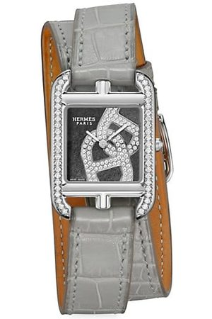 Hermès Cape Cod Chain D'Ancre Stainless Steel, Diamond & Alligator Leather Double-Wrap Strap Watch