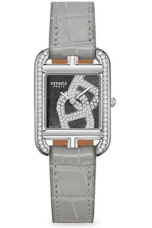 Hermès Cape Cod Chain D'Ancre Stainless Steel, Diamond & Alligator Leather Strap Watch
