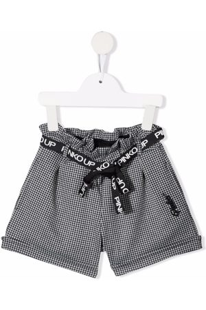 Pinko Kids Houndstooth embroidered-logo shorts