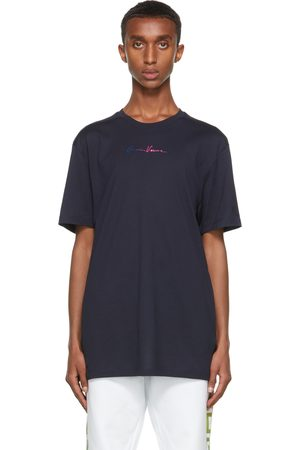 Versace Navy Embroidered GV Signature T-Shirt