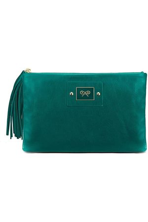 Luxe Designers Anya Hindmarch Green Faithful Clutch