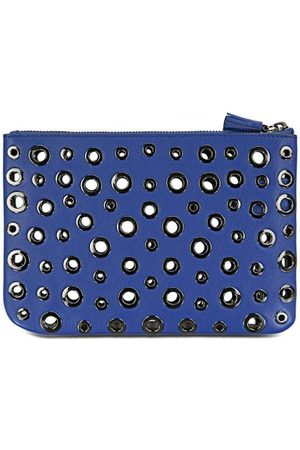 Luxe Designers Women Clutches - Anya Hindmarch Peephole Blue Leather Clutch