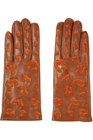 Paul Smith Leather Gloves with Leopard Pattern Detailing - Camel