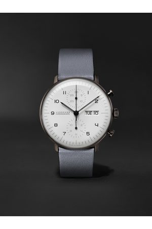 Junghans Max Bill Chronoscope Automatic 40mm Stainless Steel and Leather Watch, Ref. No. 027/4008.05