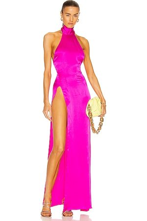 LAQUAN SMITH Front Slit Halter Gown in Hot