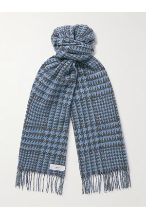 Mr P. Men Scarves - Fringed Houndstooth Merino Wool and Cashmere-Blend Scarf