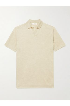 Saman Amel Men Polo Shirts - Knitted Cashmere and Silk-Blend Polo Shirt
