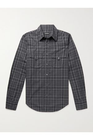 TOM FORD Checked Cotton-Flannel Western Shirt