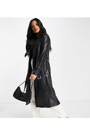 Missguided Women Trench Coats - Faux leather trench coat in