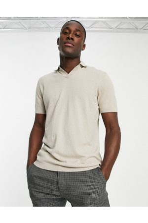 SELECTED Men Polo Shirts - Knitted polo with revere collar in beige