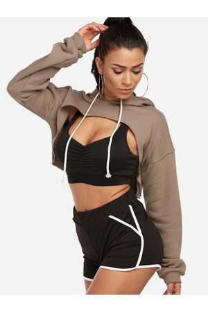 YOINS Active Round Neck Cut Out Drawstring Waist Sexy Sports Hoodies in