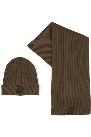 Zadig & Voltaire Green Logo Hat And Scarf Set