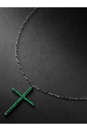 Shay Black Gold Emerald Cross Necklace