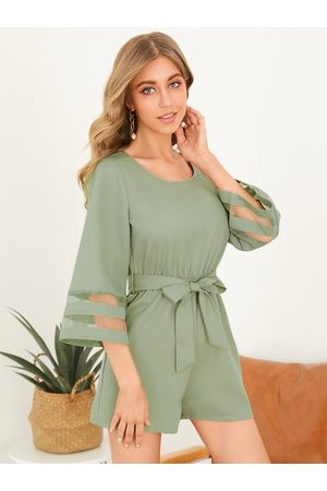 YOINS Round Neck Backless Tie-up Design Bell Sleeves Playsuits