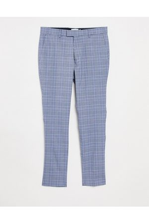 Topman Men Chinos - Skinny checked trousers in light blue and