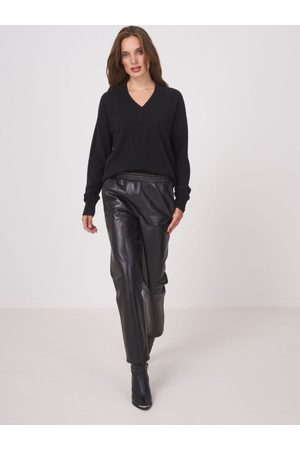 REPEAT cashmere Faux Leather Elasticated Trousers 10, Colour: Bl