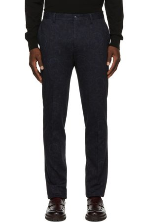 Etro Navy Floral Paisley Print Tailored Trousers