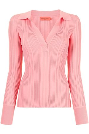 MANNING CARTELL Ribbed-knit long-sleeved polo top
