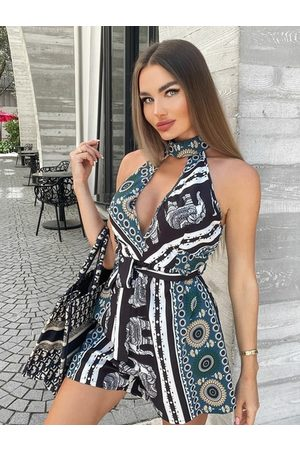 Yoins Tribal Cut Out Backless Design Belted Halter Sleeveless Playsuit
