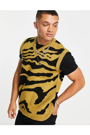 New Look Knitted animal print vest in mustard
