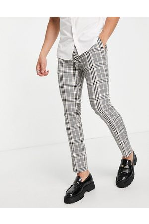 Topman Skinny checked trousers in pink and yellow