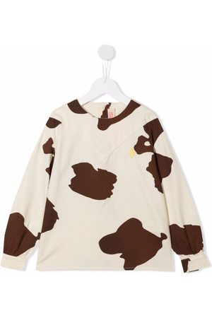 The Animals Observatory Cow-print crew neck jumper