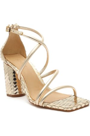 Schutz Women Casual Shoes - Gold Snake Print Strappy Heels