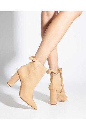 Schutz Tan Suede Bow Heeled Ankle Boots