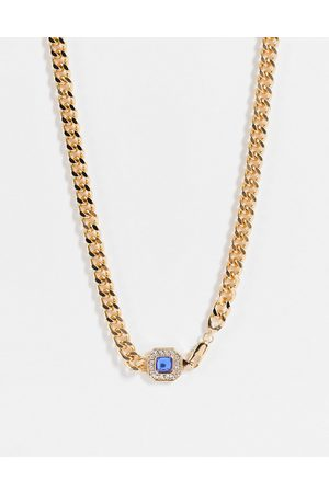 WFTW Men Necklaces - Blue stone clasp chain necklace in