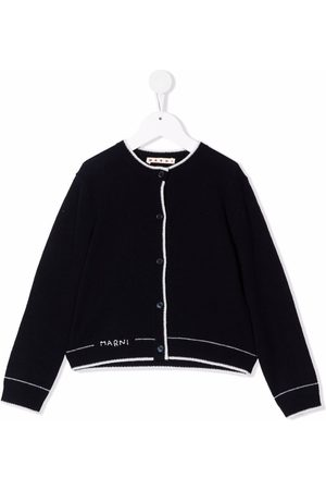 Marni Kids Logo-embroidered knitted cardigan