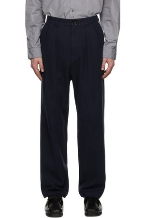 Undercoverism Navy Double Button Pleated Trousers