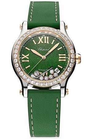 Chopard Happy Golf Stainless Steel, 18K Rose Gold, Diamond & Leather Strap Watch