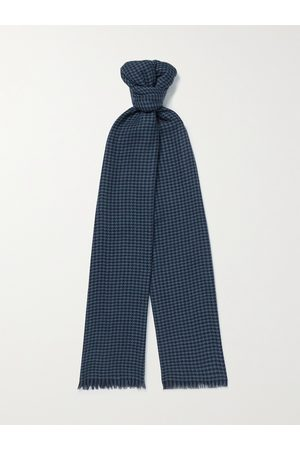 Loro Piana Fringed Houndstooth Cashmere and Silk-Blend Scarf