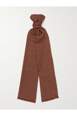 Loro Piana Men Scarves - Fringed Houndstooth Cashmere and Silk-Blend Scarf
