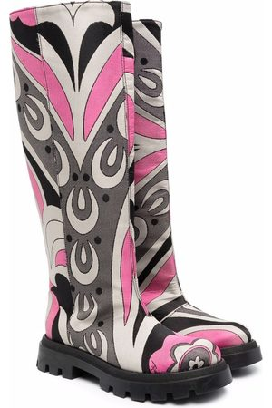 Emilio Pucci Abstract-print knee-length boots