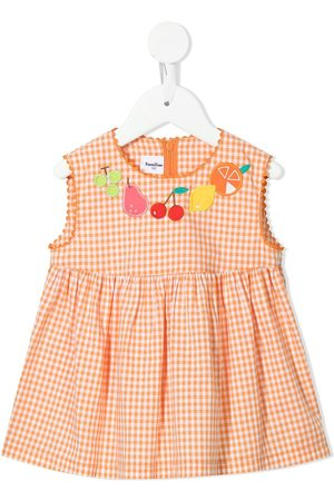 Familiar Check fruit-embroidered dress
