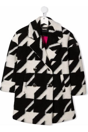 John Richmond Junior Girls Coats - Double-breasted houndstooth wool coat