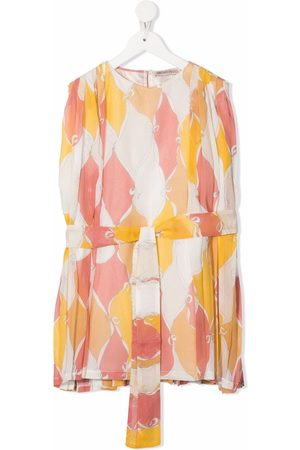 Emilio Pucci Girls Printed Dresses - Abstract-print tie-waist dress
