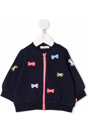 Billieblush Jumpers - Bow-detail knitted zip-up jumper