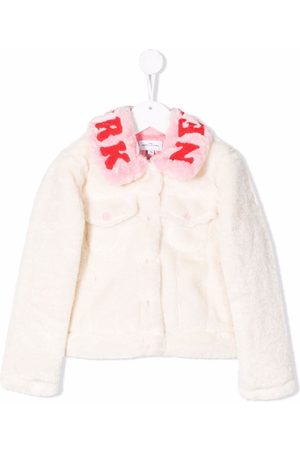 The Marc Jacobs Kids Logo-embroidered faux-fur jacket