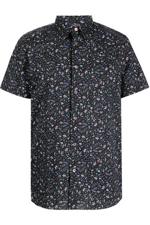 PS Paul Smith Feather-print short-sleeved shirt