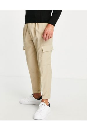 Topman Tapered twill cargo trousers in stone