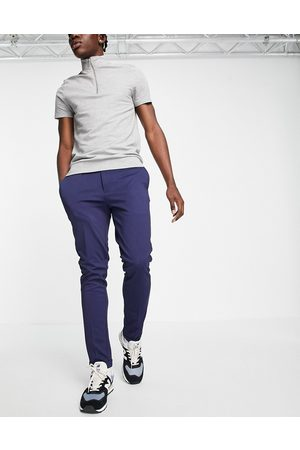 JACK & JONES Men Chinos - Intelligence slim fit stretch trousers with pleats in with organic cotton