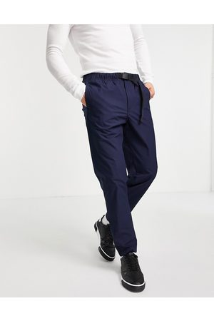 SELECTED Organic cotton blend hiking trousers with belt in